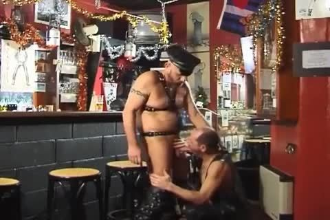 those Two large guys Wearing Leather enjoy cute Sex At The Bar
