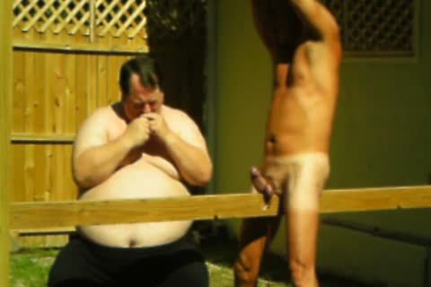 master Suspends Me Outside, Out A Plank betwixt My Legs, Lowers Me Back Onto It, Ties My ramrod To Plank And Hits It.