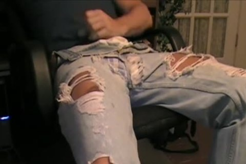 My Son Has A favorite Pair Of Ripped Jeans That that chap likes To Wear With His darksome Spandex. And Dam Does that chap Look good In 'em. So I Borrowed 'em To Jack Off A Load One Day.