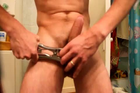 Jacking Off, After Applying A band With An Elastrator, And Hanging 2kg Weight To The Balls. almost Castrated