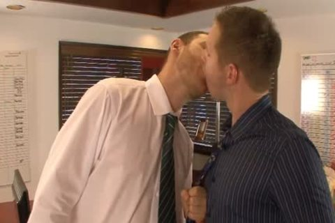 lusty homosexual males lick And Hump buttholes In The Office