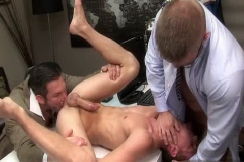 large penis homosexual threesome With Facial