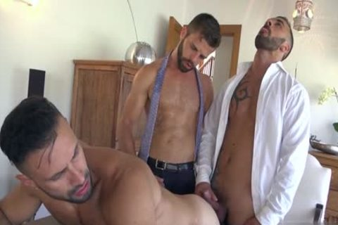 Muscle homosexual trio And sperm flow