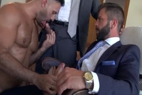 Muscle homosexual threesome And cock juice flow