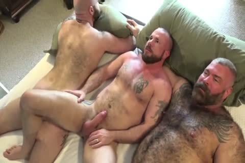 two Muscle Bear Daddies undressed poke A Cub