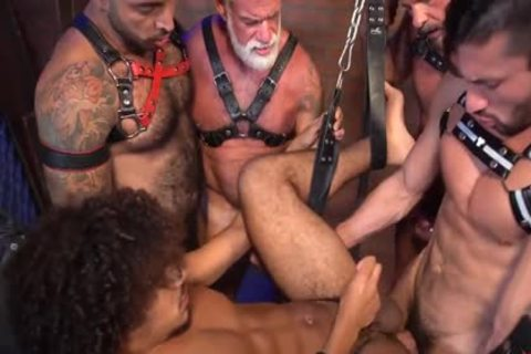 Dereks Leather Daddy gang group-sex Part 2