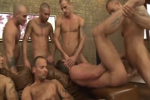 Toby Dutch gets banged In A Seven-chap bareback gang bunch sex