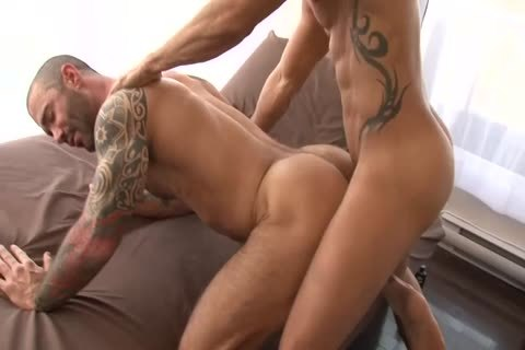 Alexy Tyler pokes Tattooed Muscle guy Junior Stellano Scene From asshole