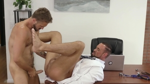 IconMale: Inked & muscled Michael Roman ass fuck in office