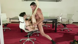 IconMale.com: Mature Andy Banks rimjob in office
