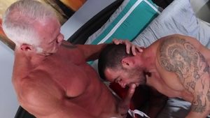Men Over 30 - Inked & piercing Dallas Steele tongue kissing